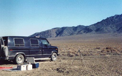 Van in Black Rock Desert, no. Nevada VLF Camp, October 1992